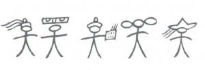 Pictogrammes désignant les ethnies voisines des Naxi : Pumi, Yi, Lisu, Bai et tibétains. Source : Pedro Ceinos Arcones (2012)